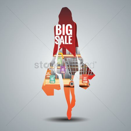Shopping : Double exposure of a young woman and shopping mall