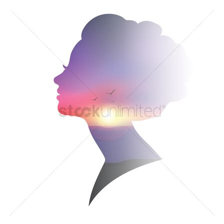 Sun : Double exposure of woman and sunset