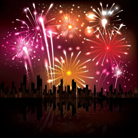 Vectors : Fireworks in city skyline