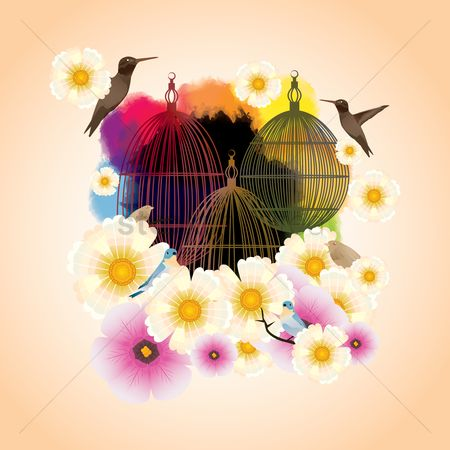 Floral : Floral background with bird cage