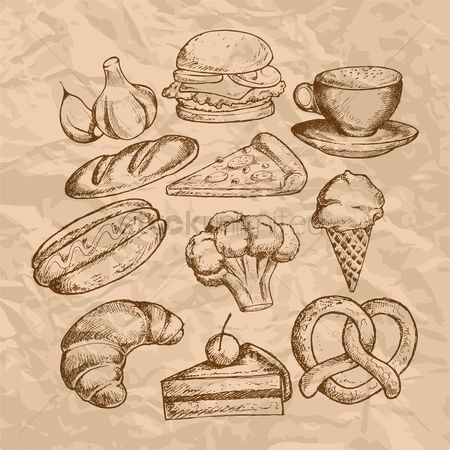 Grunge : Food and beverage icon set