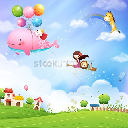 Animal : Girl and animals flying