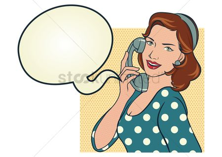 Vintage : Girl in blue polka dots dress talking on the phone