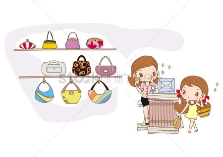 Interior : Girl shopping for new handbag