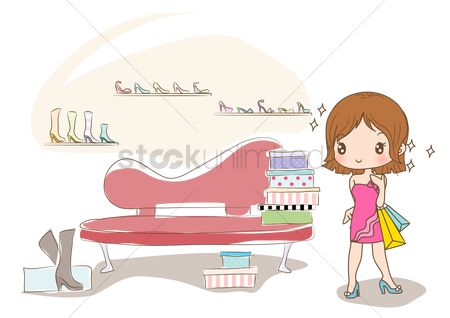 Interior : Girl shopping for new shoes