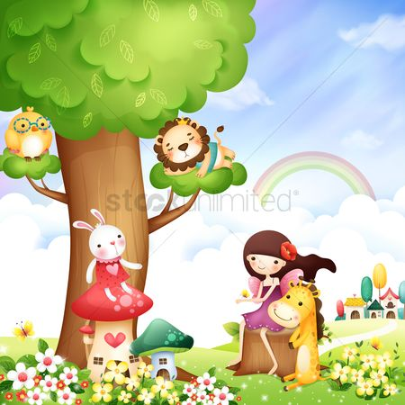 Tree : Girl with animals in a garden