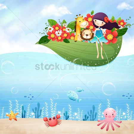 Animal : Girl with animals in a leaf boat