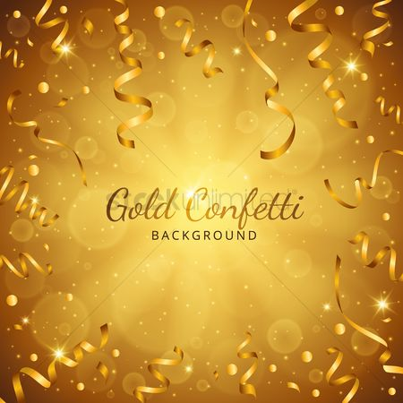 Celebration : Gold confetti background