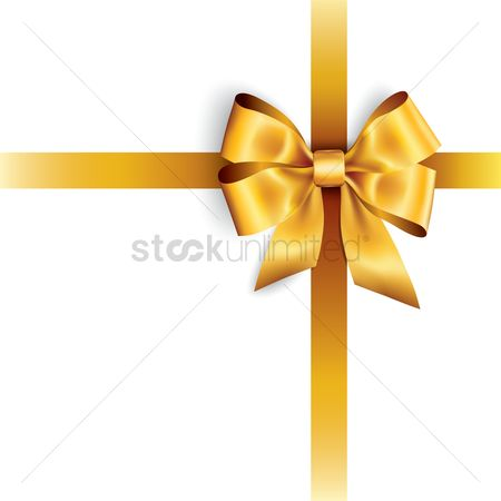 Ribbon : Golden bow isolated on white