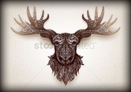 Animals Wildlife : Intricate mounted stag head design
