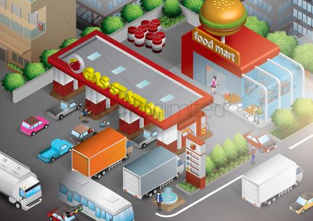 Girl : Isometric gas station