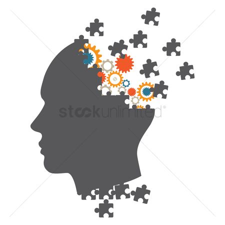 Brain : Jigsaw puzzles forming a head