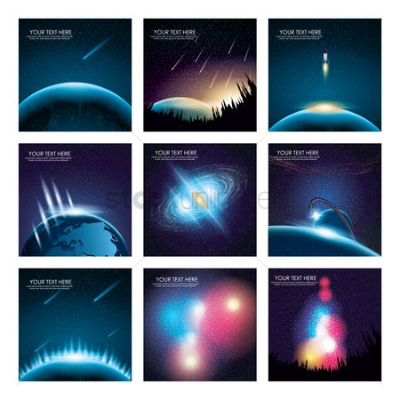 Vectors : Outer space background collection