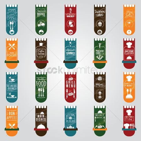 Ribbon : Restaurant menu banner set