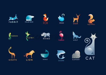 Animal : Set of abstract animals logo elements