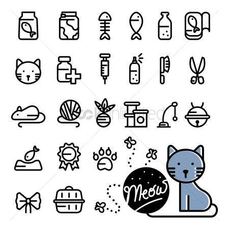 Animal : Set of cat icons