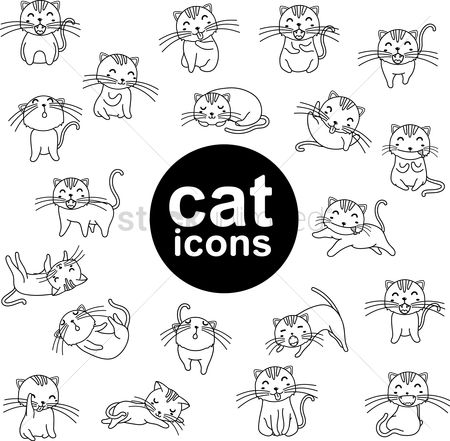 Cute : Set of cat icons