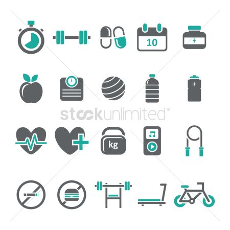 Music : Set of fitness icons