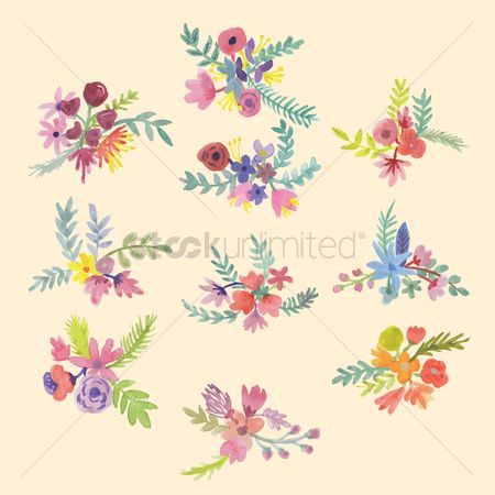 Floral : Set of flower bunches