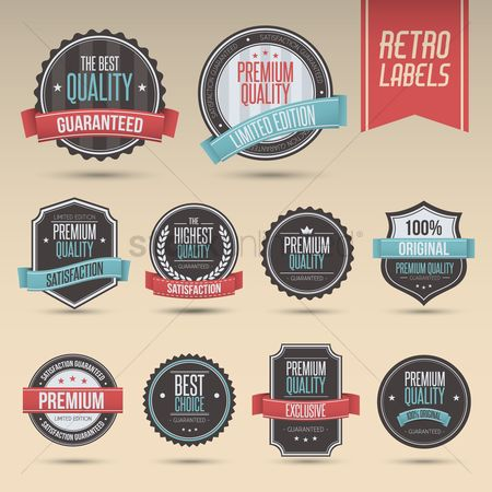 Star : Set of retro labels