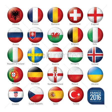 Vectors : Set of soccer balls with flags