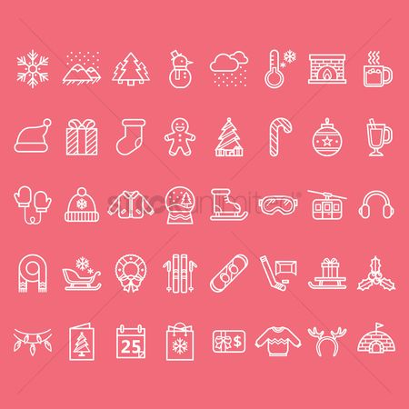 Shopping : Set of winter icons
