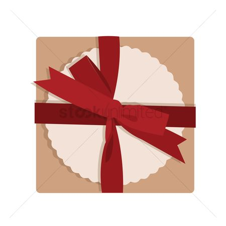 Party : Top view of a gift box tied with a red ribbon