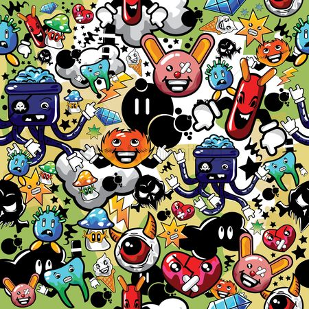 Background : Various cartoon characters background