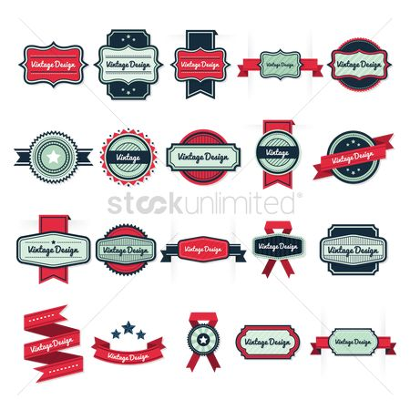 Ribbon : Various vintage design banners
