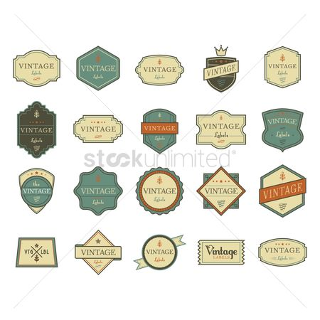 Ribbon : Vintage label icon set