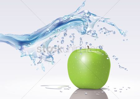 Water : Water splash on apple