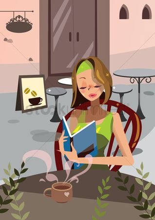 Vectors : Woman looking at the menu in a coffee shop
