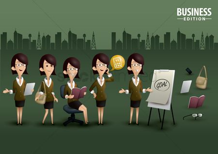 Vectors : Woman on business edition poster design