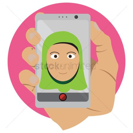 Selfie : Woman with hijab taking a selfie
