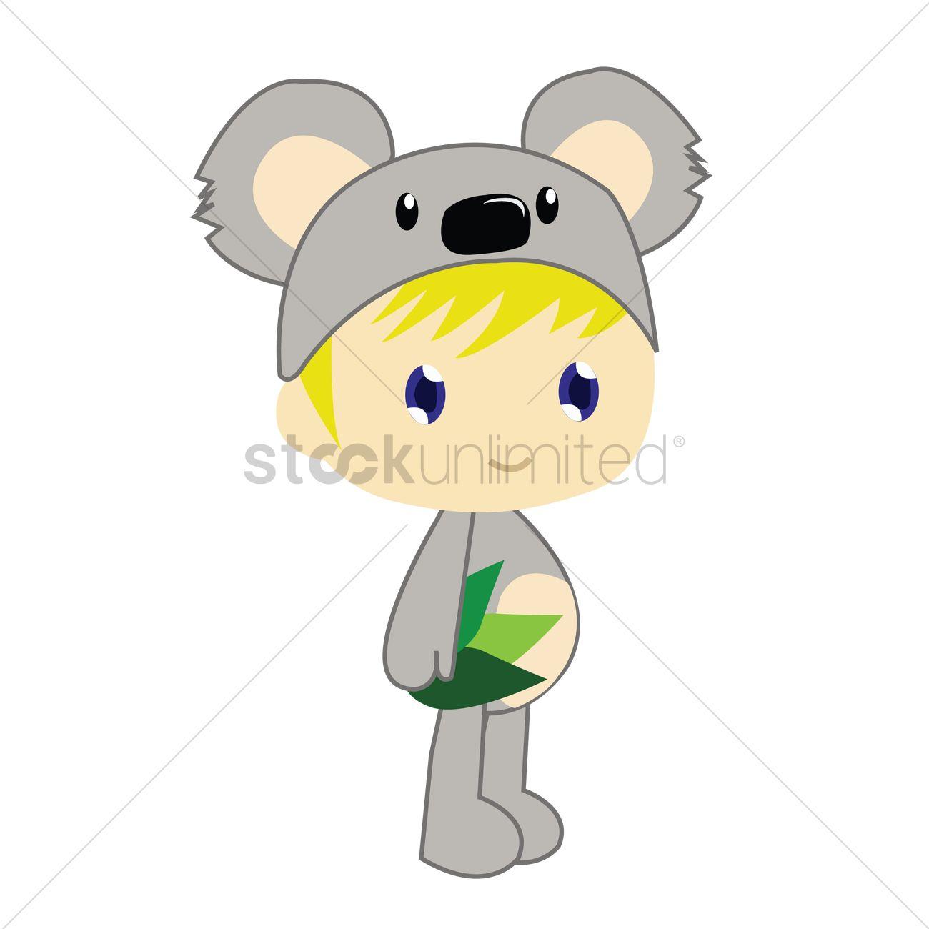 free boy in koala bear costume on white background vector image