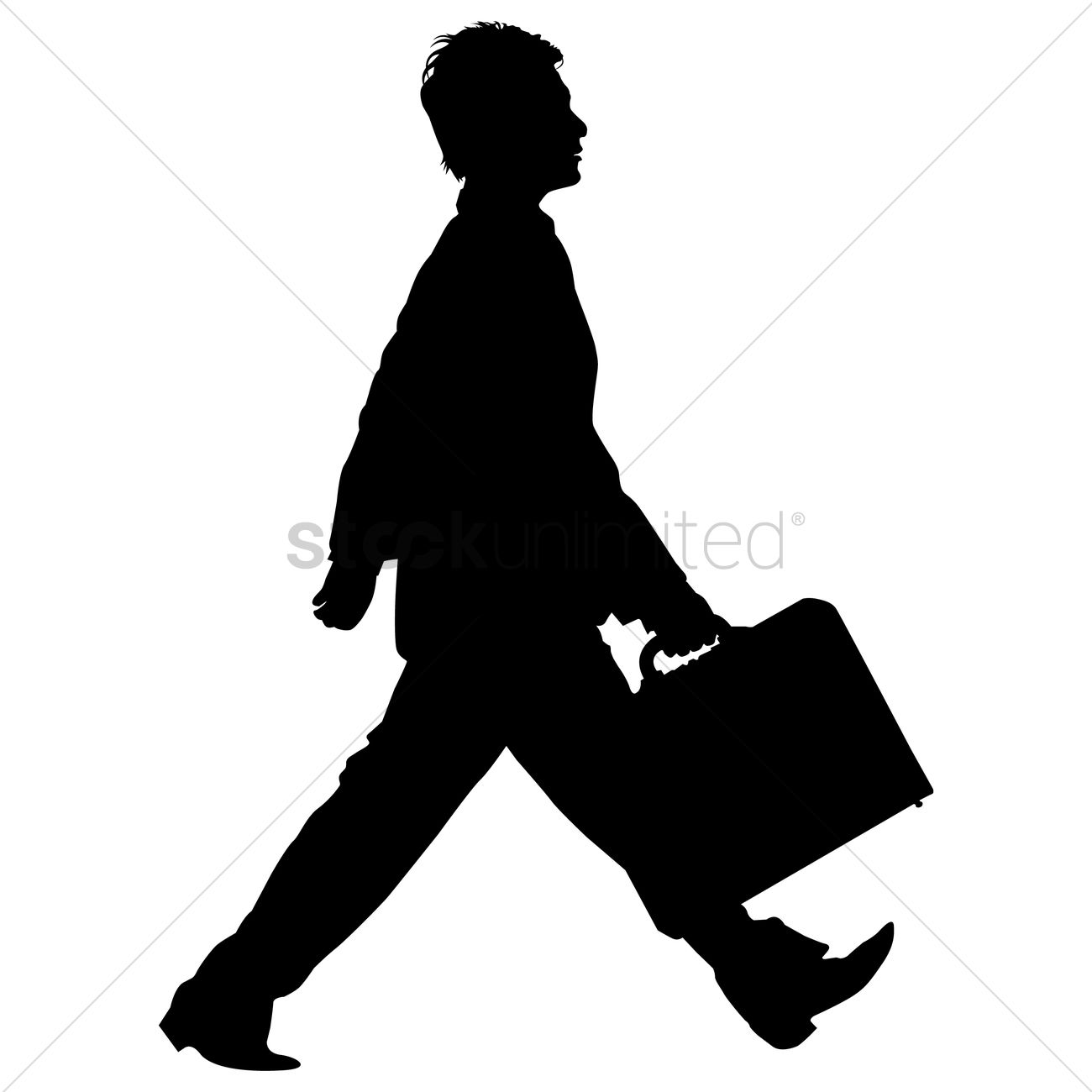 Businessman walking with briefcase silhouette Vector Image ...