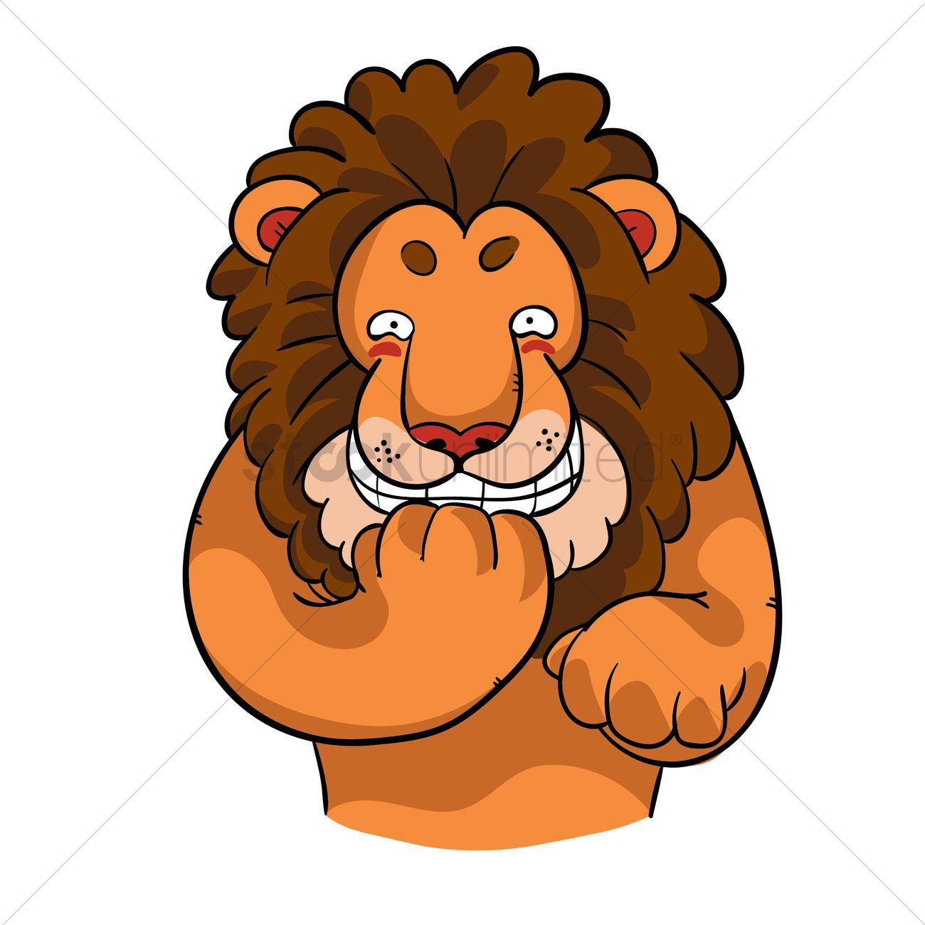 Cartoon Lion Snickering Vector Image