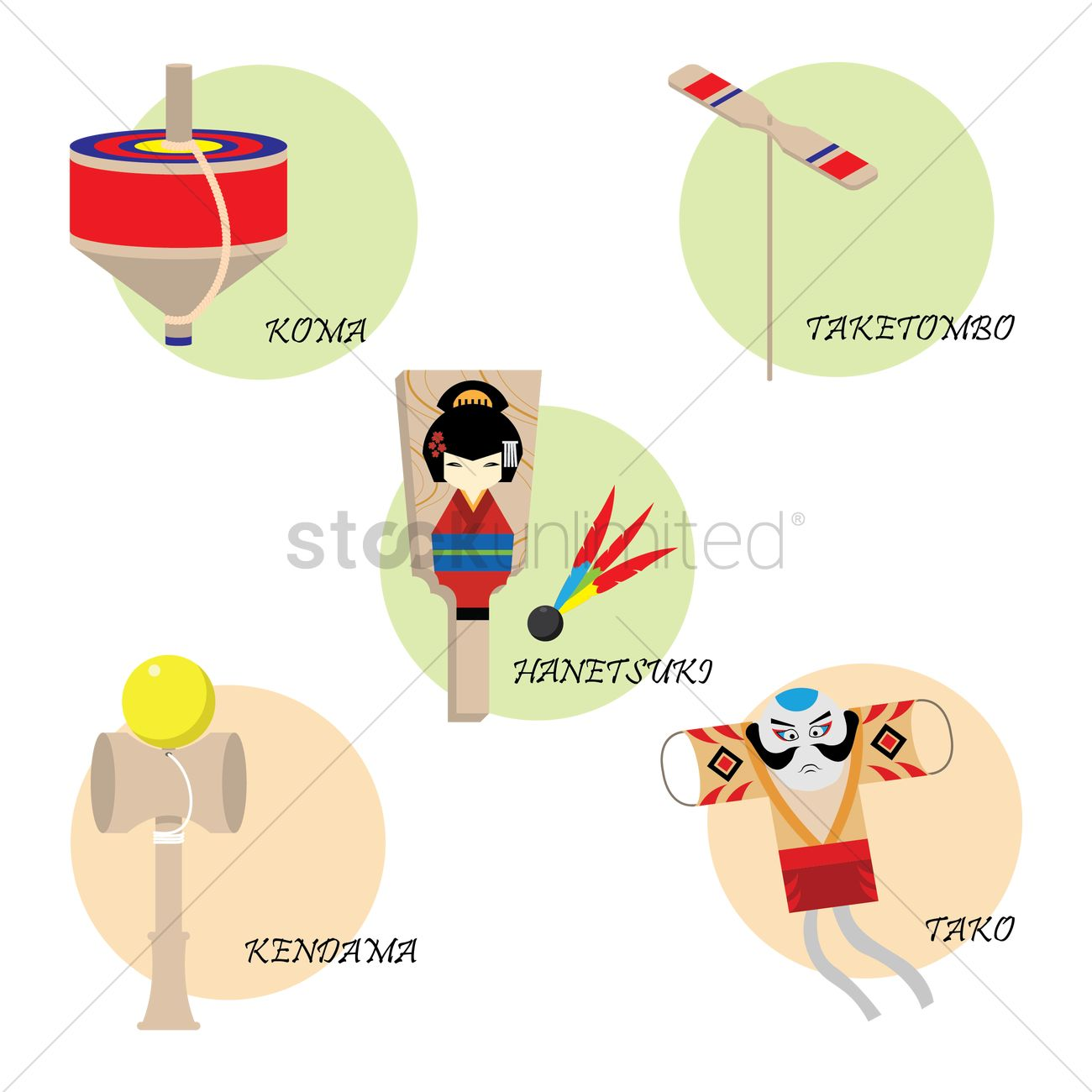 Japan Traditional Toys : Collection of japanese traditional toys vector image