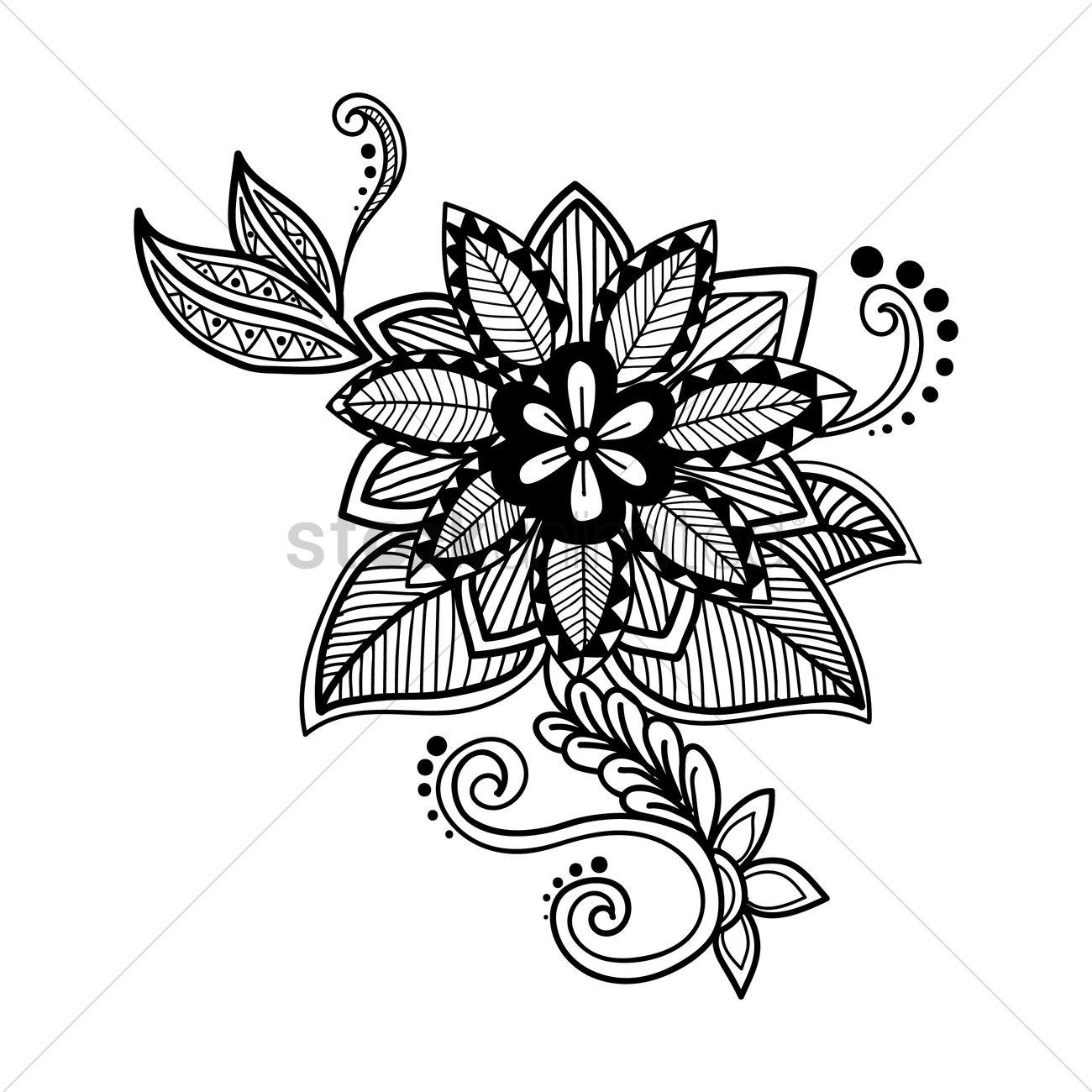 Colour Line Art Design : Decorative flower design vector image