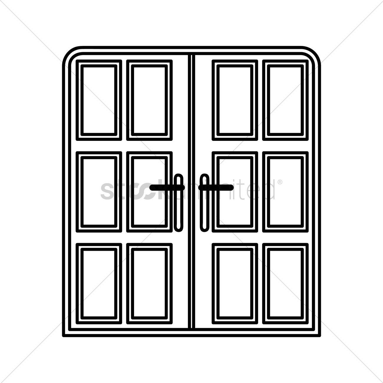Double door clipart - Double Door Vectors Stock Clipart