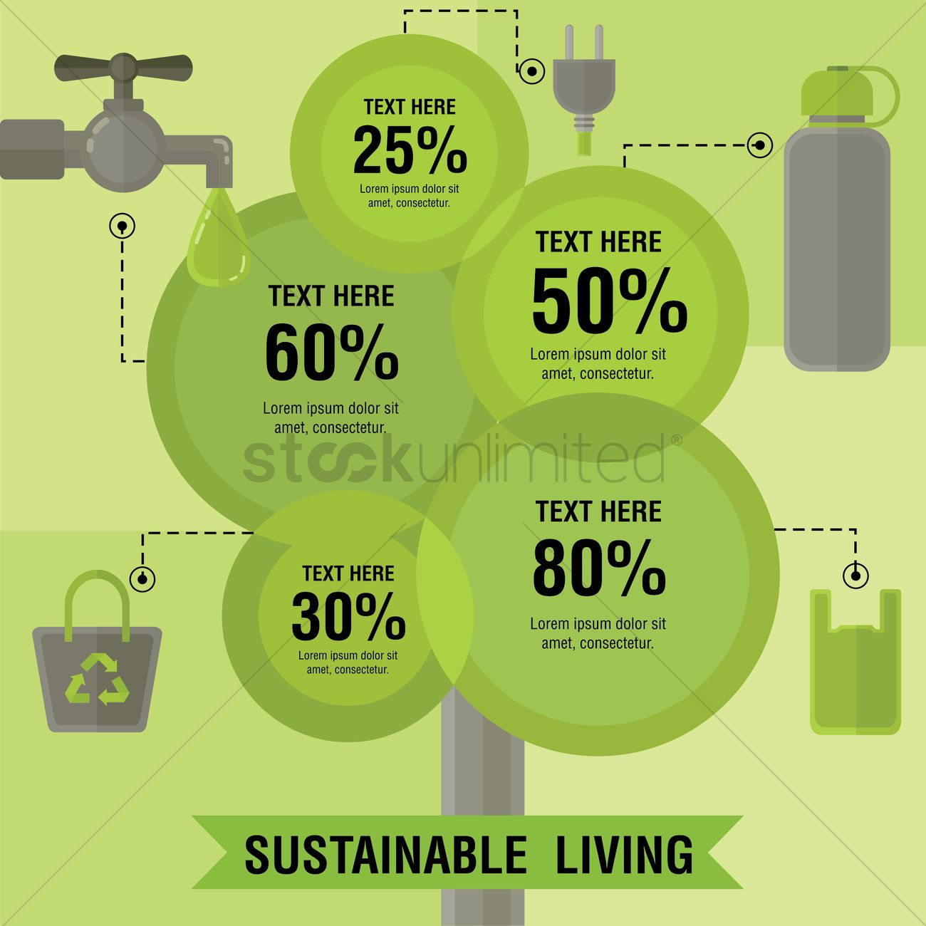 Infographic of sustainable living vector image 1261611 for Ideas for sustainable living