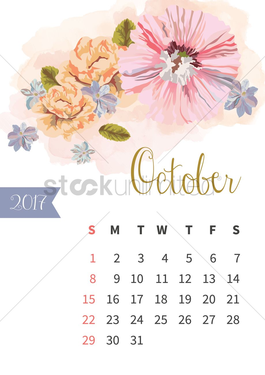October 2017 Floral Calendar Vector Image 1940319