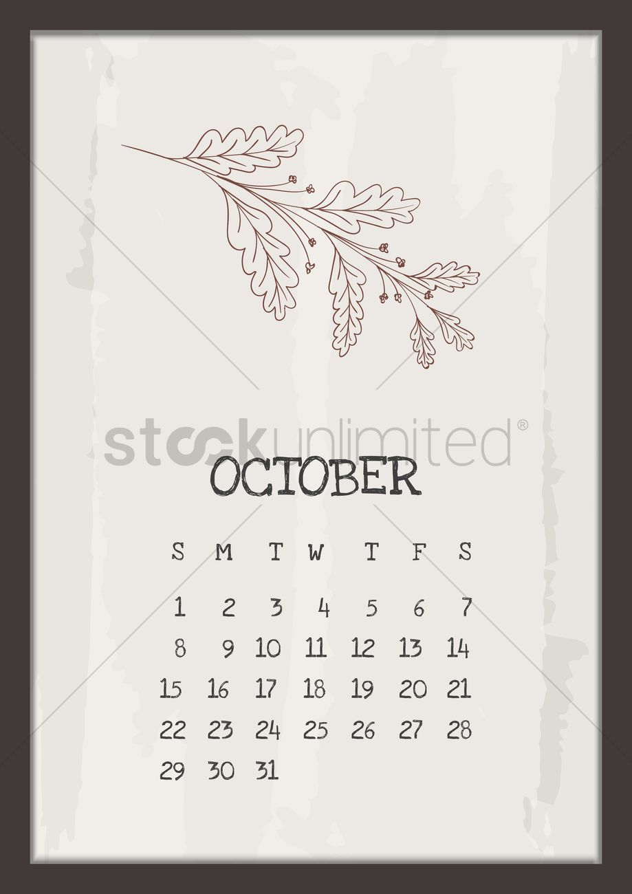 Vintage Calendar 2017 Printable : October vintage calendar vector image