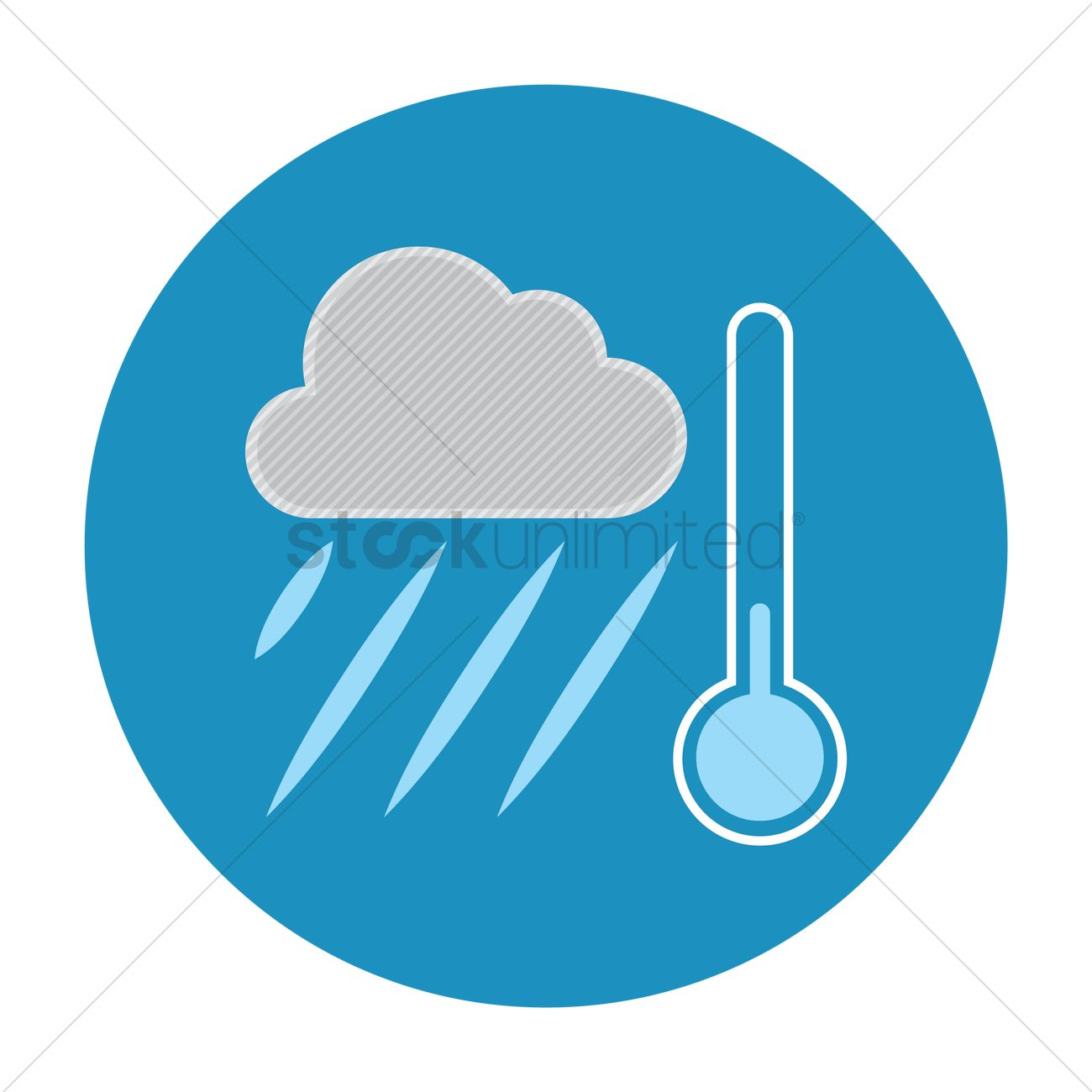 raining weather and thermometer vector image 1245723
