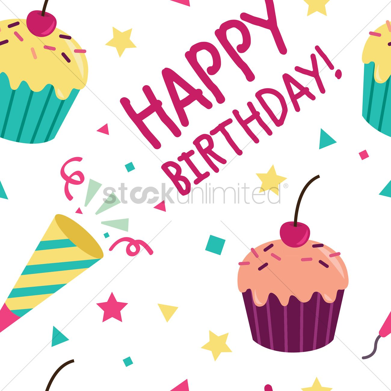 Seamless birthday design Vector Image - 1309799 | StockUnlimited