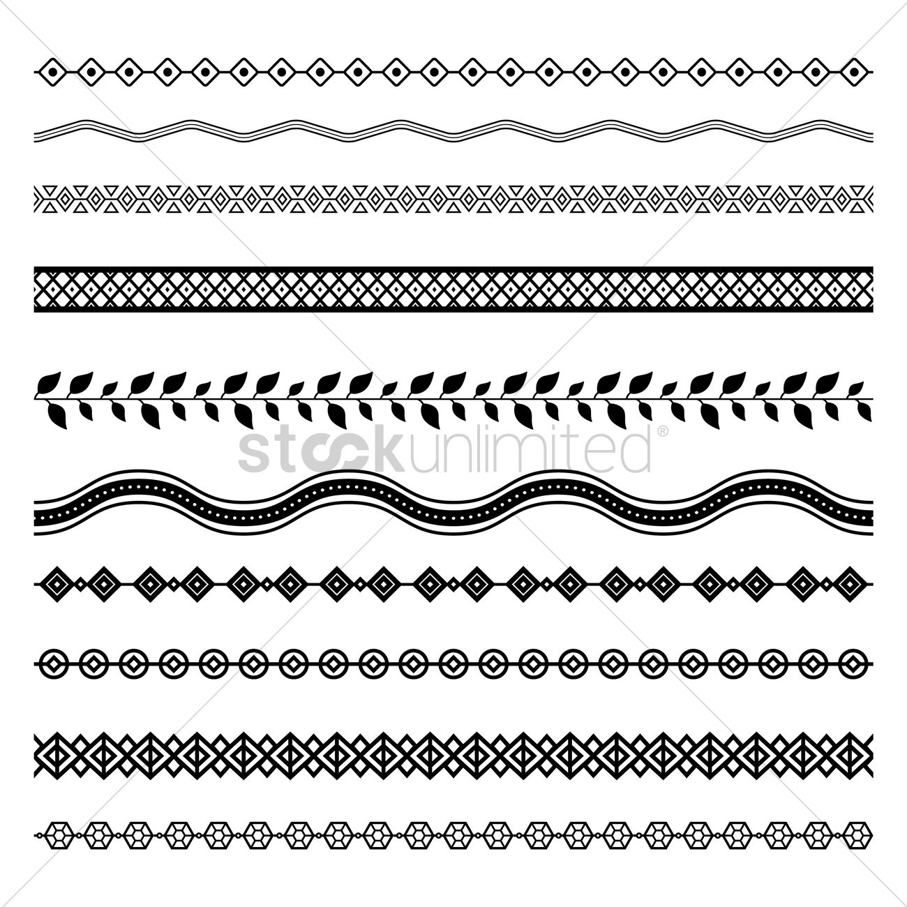 Line Art Border Designs : Set of abstract border designs vector image