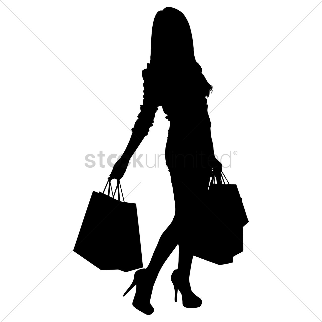 Silhouette of a lady with shopping bags Vector Image - 1456031 ...