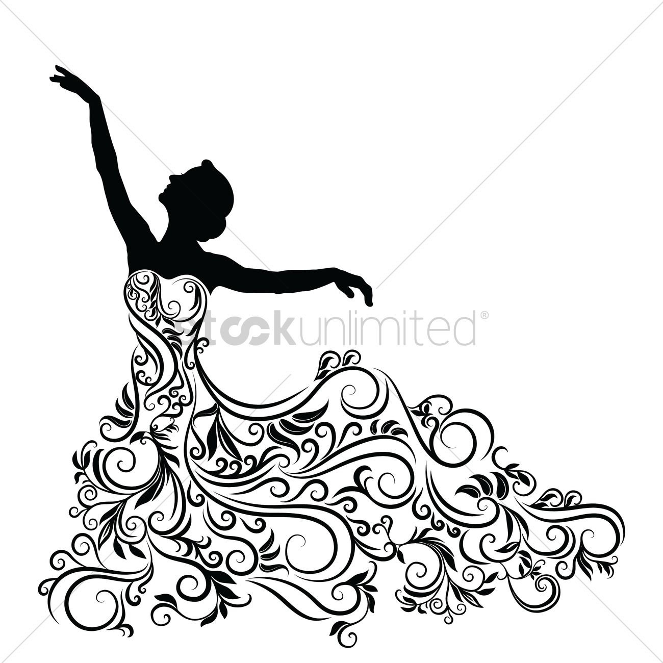 Silhouette of woman in an elegent dress Vector Image ...