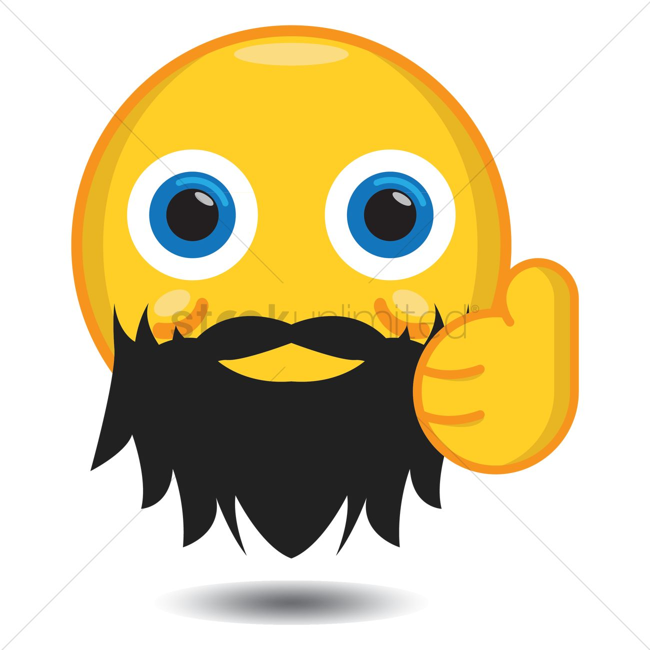 Smiley With Beard Showing Thumbs Up Vector Image 1282015