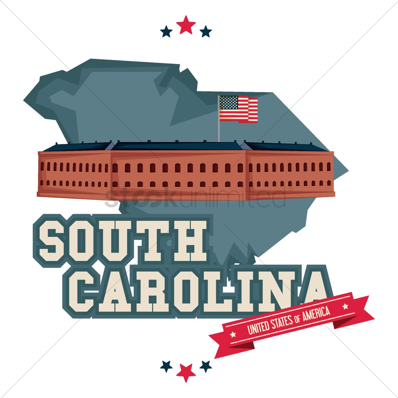 South Carolina Map With Fort Sumter Vector Graphic